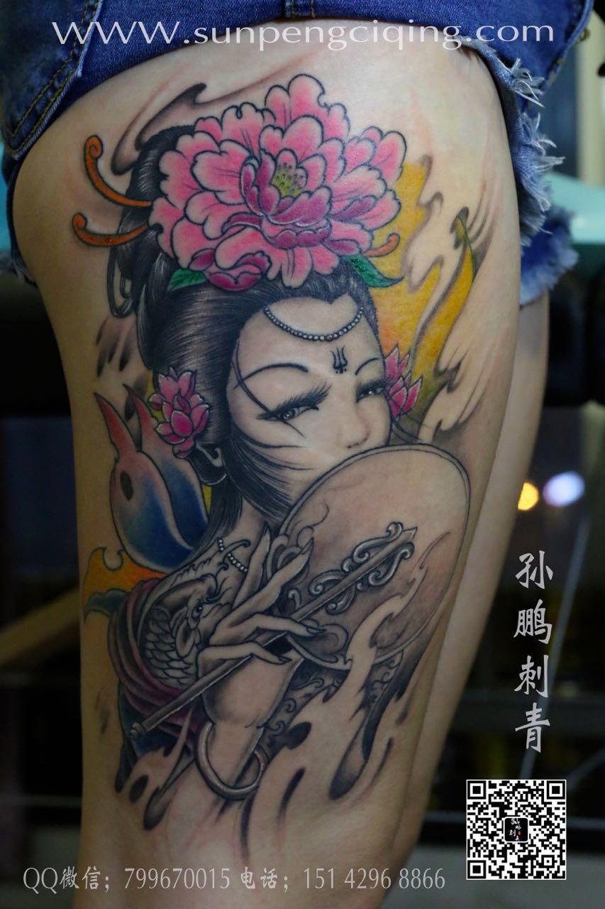 艺妓 美女 腿部纹身_孙鹏纹身-小图作品欣赏_北京纹身