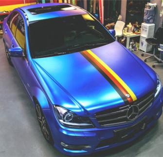"""奔驰C300 AMG""""亚光电镀蓝"""" 汽车改色贴膜"""