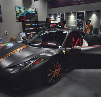 """法拉利458""""电光金属黑+电镀玫金""""拉花制作(车身改色贴膜)"""