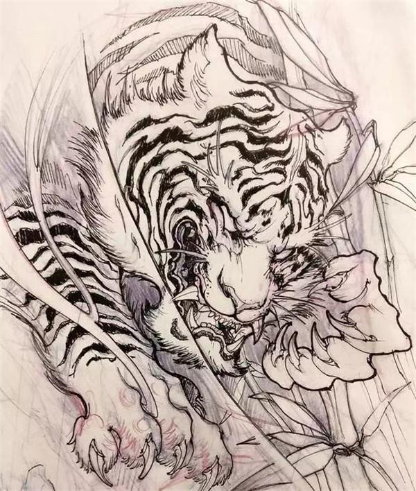 石狮子纹身手稿                          古风纹身手稿素材