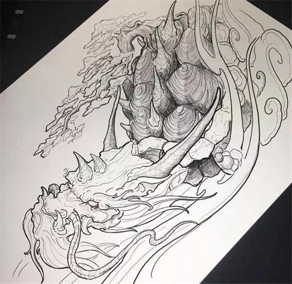 古风纹身手稿素材