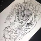 龙龟纹身手稿素材