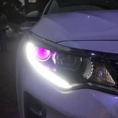 东莞南城起亚K5改灯,升级GTR海拉五+进口欧司朗安定+进口欧司朗灯泡+紫色恶魔眼