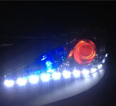现代2.0索纳塔8改Q5透镜+LED泪眼