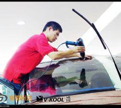 黑色奔驰太阳膜贴膜V70汽车美容施工案例