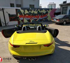 捷豹F选择膜呗亮光柠檬黄汽车改色让人顶礼膜拜