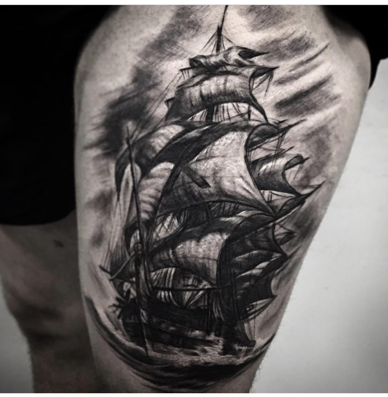 欧美帆船纹身