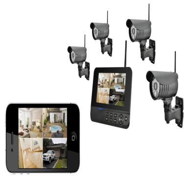 2.4G 7寸数字四分割画面监控摄像机