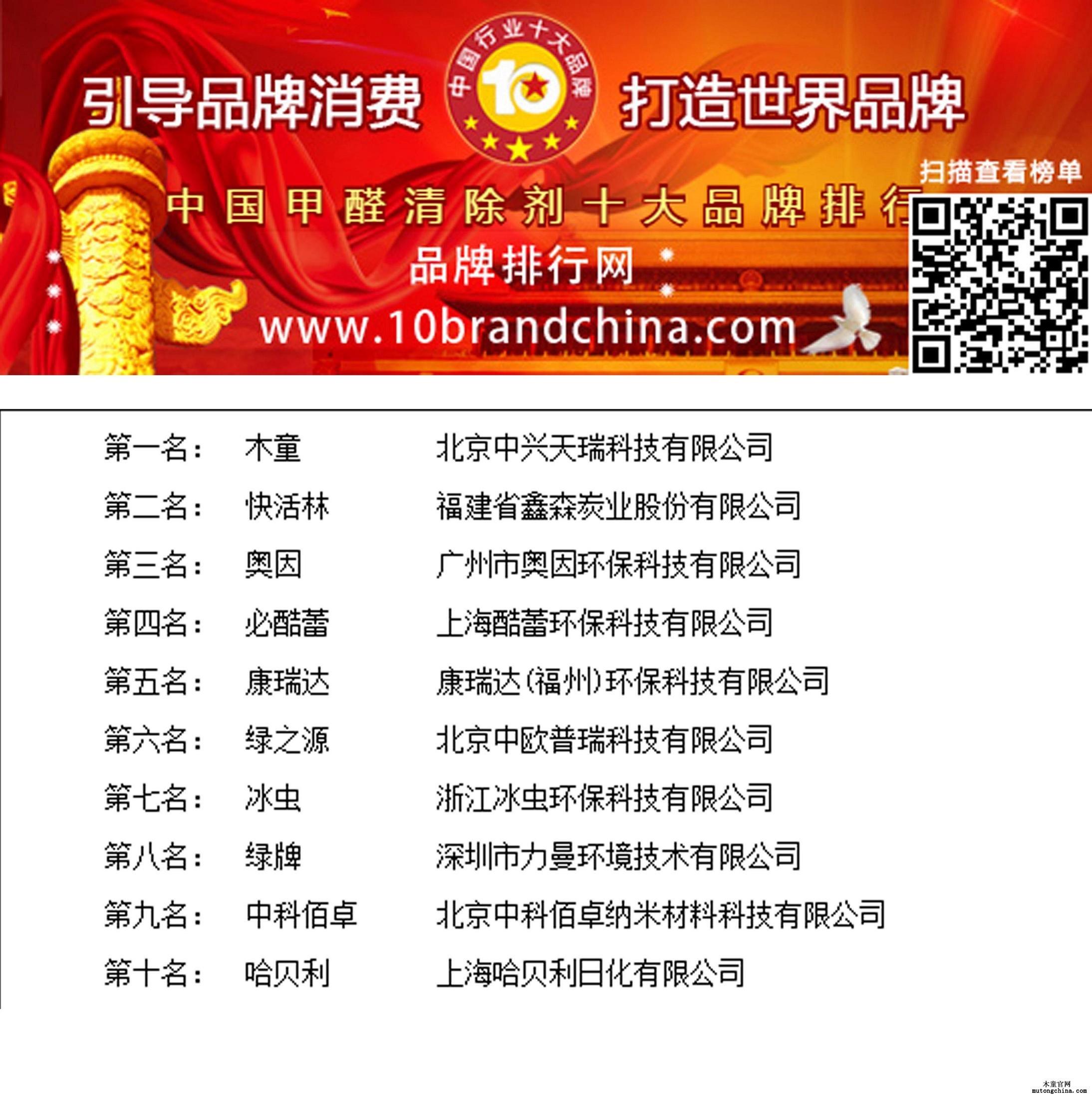 2017年度中国甲醛清除剂十大品牌总评榜