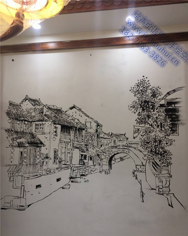 简约黑白古镇手绘墙