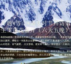 七八月专题*雪山*盛夏时节拜访雪山 看野生 天山 雪莲花的绽放(六天五晚)