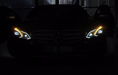 15款奔驰E级团购海拉高配智能随动LED大灯 北京星辉无界奔驰原厂改装