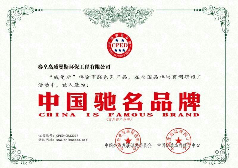 中国驰名品牌证书