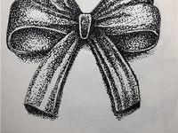 赣州纹身蝴蝶结图案手绘图
