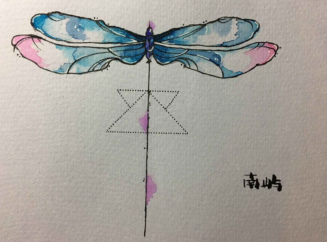 郑州纹身蜻蜓纹身手稿