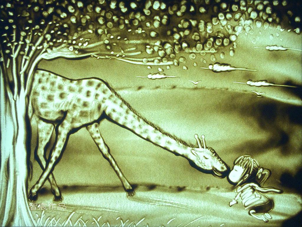 单色沙画作品鉴赏(鹿与女孩)