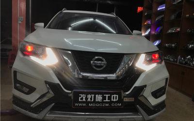 新奇骏车灯升级镀膜增亮版GTR双光透镜氙气大灯+专用内胆远光LED+红色恶魔眼