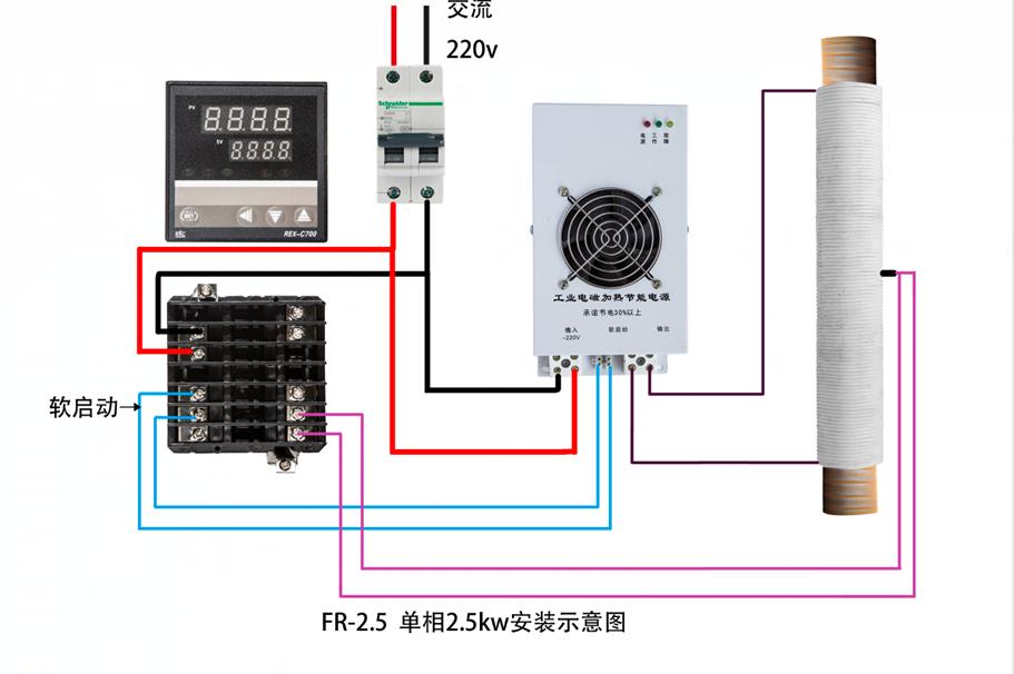 电磁加热器安装示意图