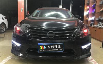 天籁大灯升级GTR双光透镜+红色恶魔眼+熏黑