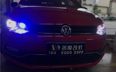大众POLO升级GTR双光透镜飞利浦灯泡+超级LED远光炮+天使眼+恶魔眼