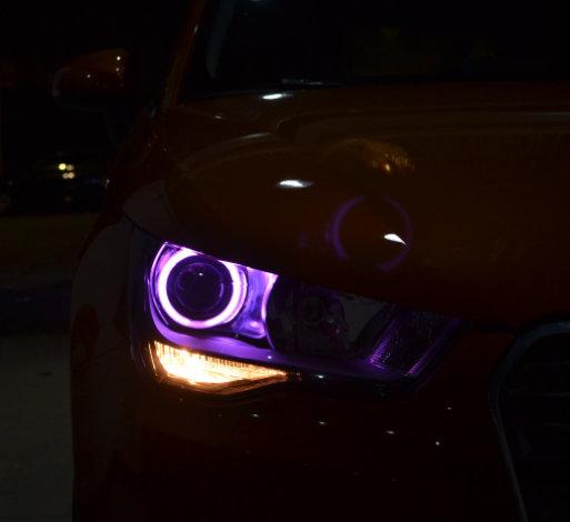 奥迪A1车灯改装氙气灯透镜天使眼