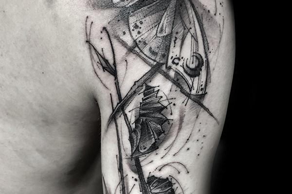 手臂素描纹身欣赏