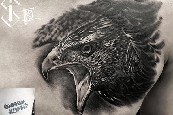 胸口老鹰 遮盖纹身欣赏