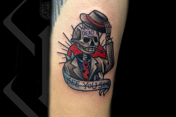 卡通骷髅头纹身欣赏