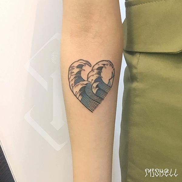 心纹身_海浪纹身_海浪心型纹身图片欣赏