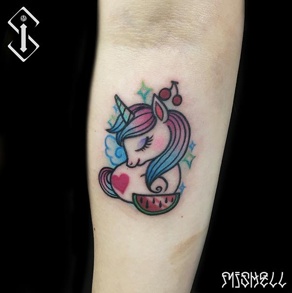 独角兽纹身_可爱卡通小动物纹身图案